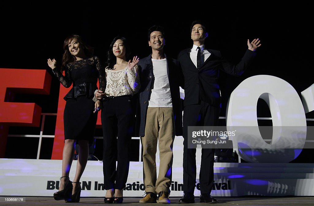 Actresses So Yoo-Jin and Park Ji-Su, actor Bae Su-Bin and director Yoo Ji-Tae attend the outdoor greeting for 'Mai Ratima' during the 17th Busan International Film Festival (BIFF) at Haeundae beach on October 8, 2012 in Busan, South Korea. The biggest film festival in Asia showcases 304 films from 75 countries and runs from October 04 until October 13..