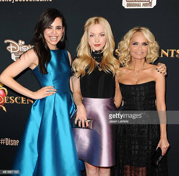 Actresses Sofia Carson Dove Cameron and Kristin Chenoweth attend the premiere of 'Descendants' at Walt Disney Studios Main Theater on July 24 2015 in...