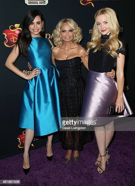 Actresses Sofia Carson Kristin Chenoweth and Dove Cameron attend the premiere of Disney's 'Descendants' at Walt Disney Studios main theater on July...