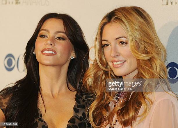 Actresses Sofia Vergara and Cat Deeley arrive on the red carpet for the People's Choice Awards 2010 Nomination Announcement Press Conference held at...