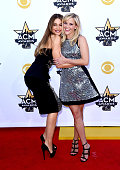 Actresses Sofia Vergara and Reese Witherspoon attend the 50th Academy of Country Music Awards at ATT Stadium on April 19 2015 in Arlington Texas