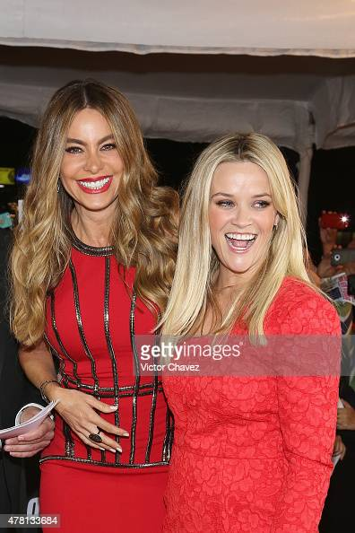 Actresses Sofia Vergara and Reese Witherspoon attend the 'Hot Pursuit' Mexico City Premiere red carpet at Cinepolis Plaza Carso on June 22 2015 in...