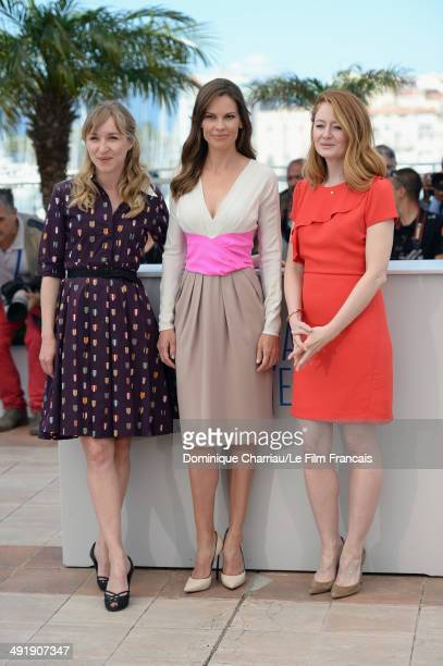Actresses Sonja Richter Hilary Swank and Miranda Otto attend 'The Homesman' photocall at the 67th Annual Cannes Film Festival on May 18 2014 in...