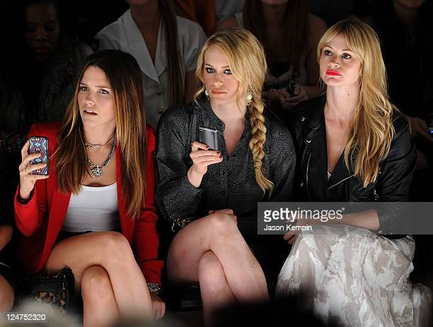 Actresses Sophia Bush Leven Rambin and Cameron Richardson attend the Rebecca Minkoff Spring 2012 fashion show during MercedesBenz Fashion Week at The...