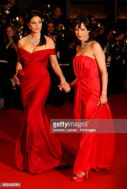 Actresses Sophie Marceau and Monica Bellucci arrive at the premiere of 'Don't Look Back' at the Palais des Festivals in Cannes France at the 62nd...