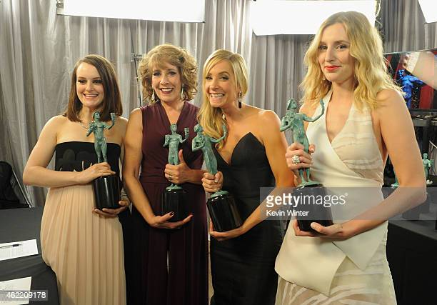 Actresses Sophie McShera Phyllis Logan Joanne Froggatt and Laura Carmichael pose in the trophy room at TNT's 21st Annual Screen Actors Guild Awards...