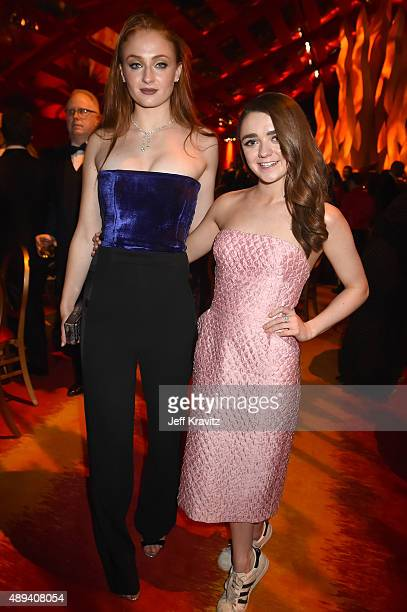 Actresses Sophie Turner and Maisie Williams attend HBO's Official 2015 Emmy After Party at The Plaza at the Pacific Design Center on September 20...