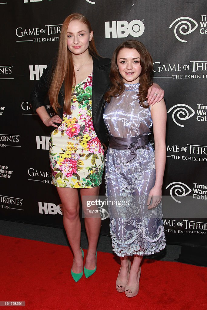 Actresses Sophie Turner and Maisie Williams attend the 'Game Of Thrones' The Exhibition New York Opening at 3 West 57th Avenue on March 27, 2013 in New York City.