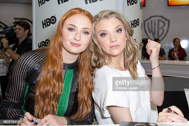 Actresses Sophie Turner and Natalie Dormer attend a fan signing for 'Game of Thrones' during ComicCon International on July 10 2015 in San Diego...