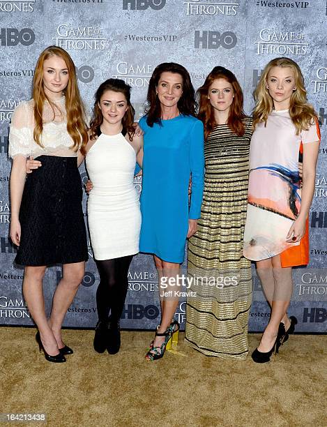 Actresses Sophie Turner Maisie Williams Michelle Fairley Rose Leslie and Natalie Dormer attend HBO's 'Game Of Thrones' Season 3 San Francisco...