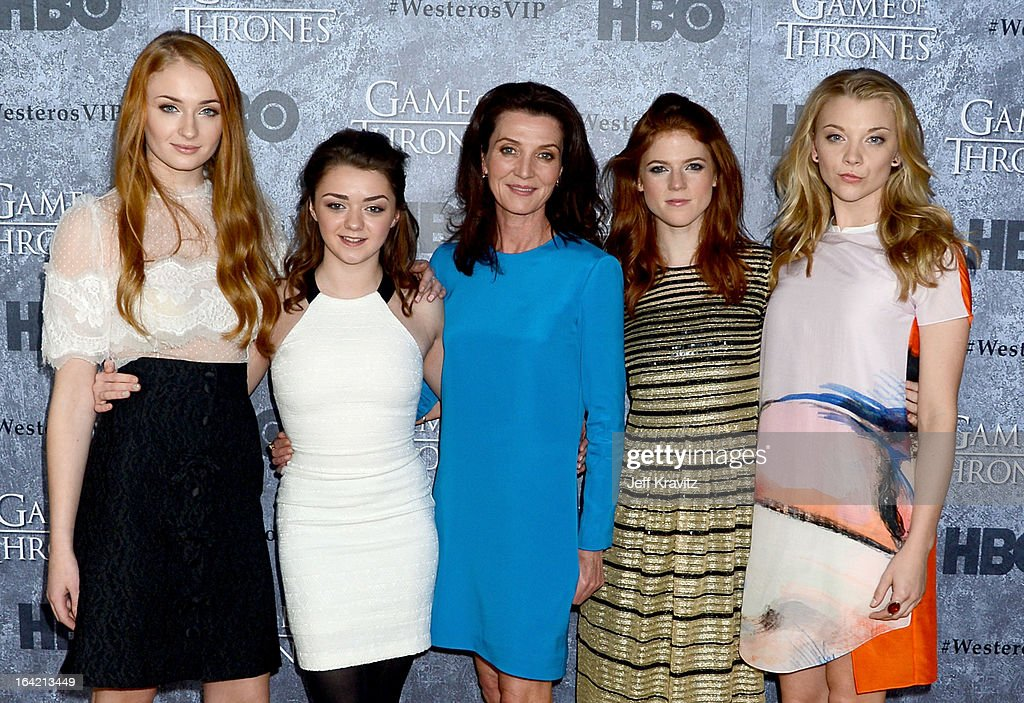 Actresses <a gi-track='captionPersonalityLinkClicked' href=/galleries/search?phrase=Sophie+Turner+-+Actrice&family=editorial&specificpeople=11657140 ng-click='$event.stopPropagation()'>Sophie Turner</a>, <a gi-track='captionPersonalityLinkClicked' href=/galleries/search?phrase=Maisie+Williams&family=editorial&specificpeople=1766400 ng-click='$event.stopPropagation()'>Maisie Williams</a>, <a gi-track='captionPersonalityLinkClicked' href=/galleries/search?phrase=Michelle+Fairley&family=editorial&specificpeople=5745645 ng-click='$event.stopPropagation()'>Michelle Fairley</a>, <a gi-track='captionPersonalityLinkClicked' href=/galleries/search?phrase=Rose+Leslie&family=editorial&specificpeople=7275579 ng-click='$event.stopPropagation()'>Rose Leslie</a> and <a gi-track='captionPersonalityLinkClicked' href=/galleries/search?phrase=Natalie+Dormer&family=editorial&specificpeople=817757 ng-click='$event.stopPropagation()'>Natalie Dormer</a> attend HBO's 'Game Of Thrones' Season 3 San Francisco Premiere on March 20, 2013 in San Francisco, California.