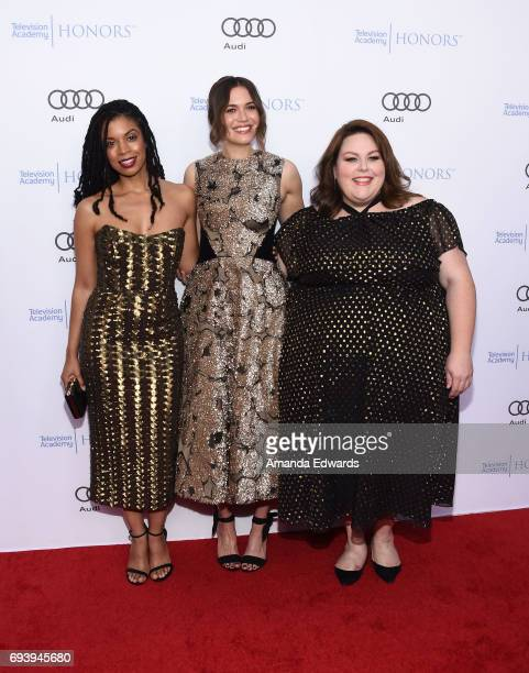 Actresses Susan Kelechi Watson Mandy Moore and Chrissy Metz arrive at the 10th Annual Television Academy Honors at the Montage Beverly Hills on June...