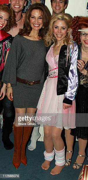 Actresses Susan Lucci and Kerry Butler pose backstage at 'Xanadu' on Broadway at The Helen Hayes Theater on December 18 2007 in New York City