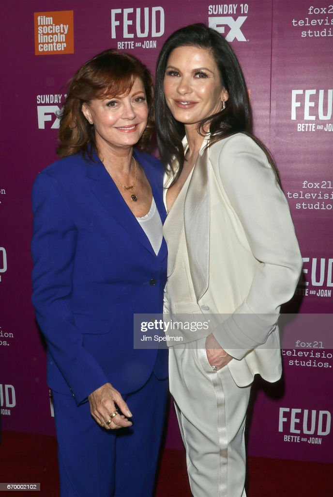 Actresses Susan Sarandon (L) and Catherine Zeta-Jones attend the 'Feud: Bette and Joan' NYC event at Alice Tully Hall at Lincoln Center on April 18, 2017 in New York City.