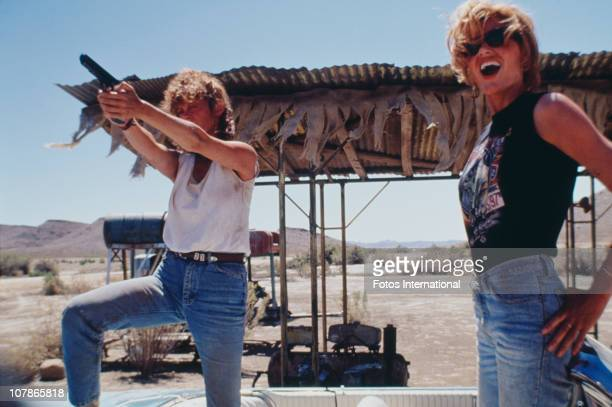 Actresses Susan Sarandon and Geena Davis star in the film 'Thelma And Louise' 1991
