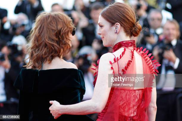 Actresses Susan Sarandon and Julianne Moore attend the 'Ismael's Ghosts ' screening and Opening Gala during the 70th annual Cannes Film Festival at...