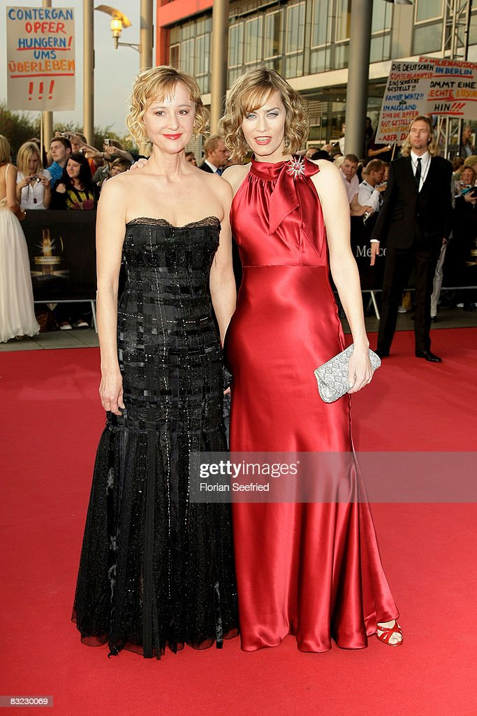 Actresses Susanne Lothar and Gesine Cukrowski arrive for the German TV Award 2008 at the Coloneum on October 11, 2008 in Cologne, Germany.