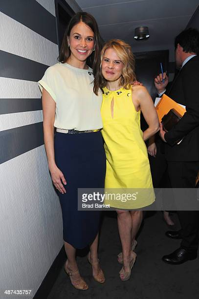 Actresses Sutton Foster and Celia KeenanBolger attend the 2014 Tony Awards Meet The Nominees Press Reception at the Paramount Hotel on April 30 2014...