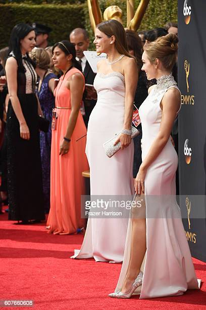 Actresses Suzanne Cryer and Holly Taylor attend the 68th Annual Primetime Emmy Awards at Microsoft Theater on September 18 2016 in Los Angeles...
