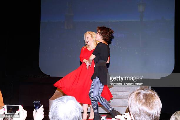 Actresses Sylvie Vartan and Isabelle Mergault triumph in the Theater Play 'Ne me regardez pas comme ca ' performed at 'Theatre Des Varietes' on...
