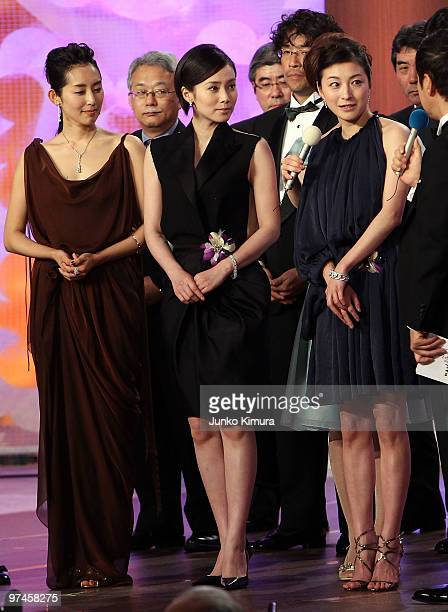 Actresses Tae Kimura Miki Nakatani and Ryoko Hirosue attend the 33rd Japan Academy Aawrds at Grand Prince Hotel New Takanawa on March 5 2010 in Tokyo...