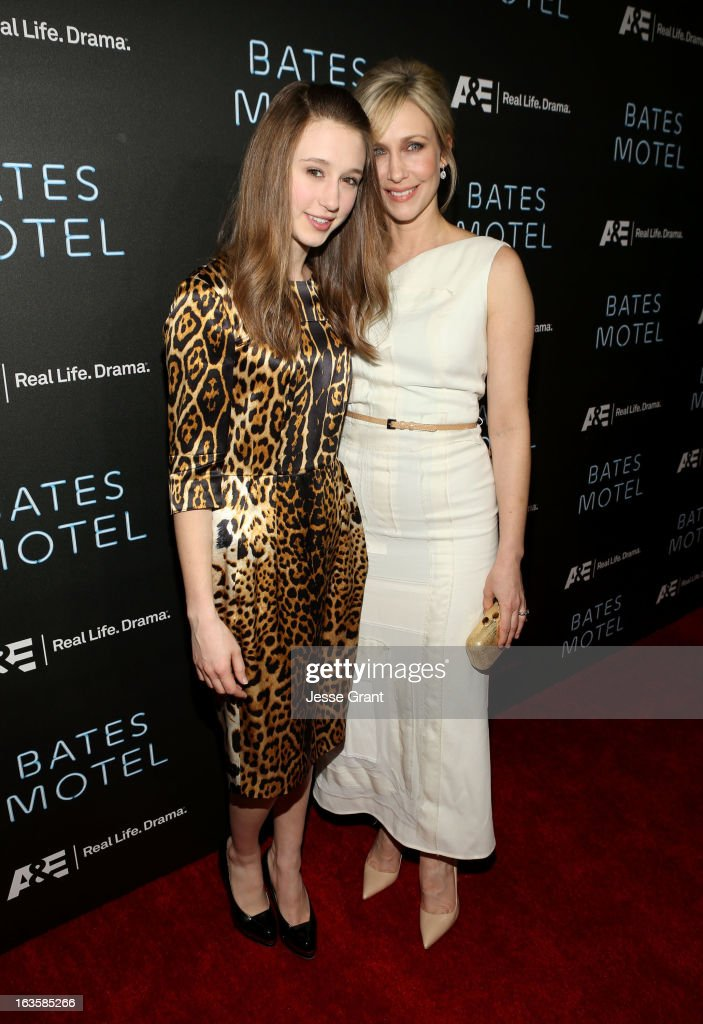 Actresses <a gi-track='captionPersonalityLinkClicked' href=/galleries/search?phrase=Taissa+Farmiga&family=editorial&specificpeople=7447946 ng-click='$event.stopPropagation()'>Taissa Farmiga</a> and <a gi-track='captionPersonalityLinkClicked' href=/galleries/search?phrase=Vera+Farmiga&family=editorial&specificpeople=227012 ng-click='$event.stopPropagation()'>Vera Farmiga</a> attend A&E's 'Bates Motel' Premiere Party on March 12, 2013 in West Hollywood, California.