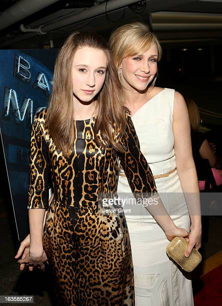 Actresses Taissa Farmiga and Vera Farmiga attend AE's 'Bates Motel' Premiere Party on March 12 2013 in West Hollywood California