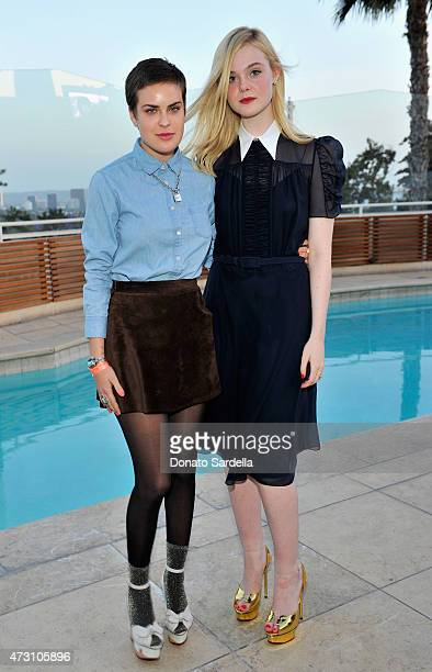 Actresses Tallulah Willis and Elle Fanning attend an intimate dinner hosted by Charlotte Olympia Dellal and Liz Goldwyn at The Sunset Tower Hotel on...