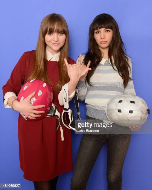 Actresses Tara Barr and actress Hannah Marks pose for a portrait during the 2014 Sundance Film Festival at the Getty Images Portrait Studio at the...