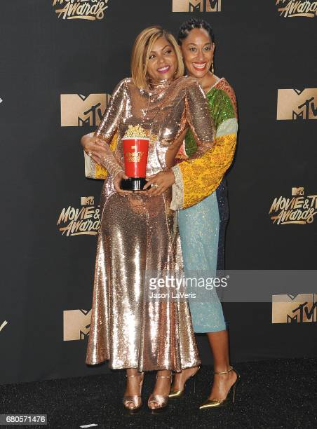 Actresses Taraji P Henson and Tracee Ellis Ross pose in the press room at the 2017 MTV Movie and TV Awards at The Shrine Auditorium on May 7 2017 in...