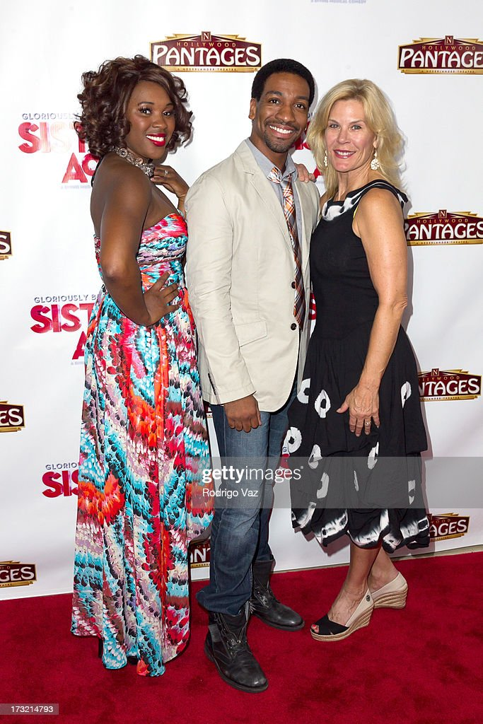 Actresses Ta'rea Campbell (L) and Hollis Resnik (R) attend 'Sister Act' - Los Angeles Show Premiere at the Pantages Theatre on July 9, 2013 in Hollywood, California.
