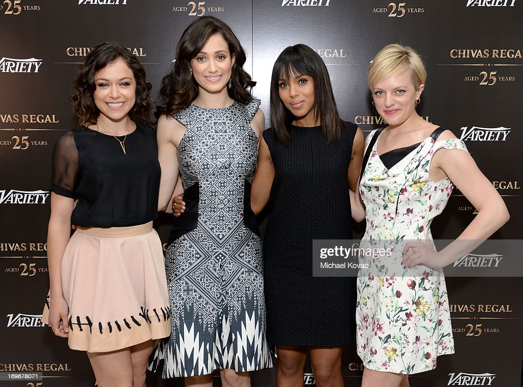 Actresses Tatiana Maslany, <a gi-track='captionPersonalityLinkClicked' href=/galleries/search?phrase=Emmy+Rossum&family=editorial&specificpeople=202563 ng-click='$event.stopPropagation()'>Emmy Rossum</a>, <a gi-track='captionPersonalityLinkClicked' href=/galleries/search?phrase=Kerry+Washington&family=editorial&specificpeople=201534 ng-click='$event.stopPropagation()'>Kerry Washington</a> and <a gi-track='captionPersonalityLinkClicked' href=/galleries/search?phrase=Elisabeth+Moss&family=editorial&specificpeople=3079265 ng-click='$event.stopPropagation()'>Elisabeth Moss</a> attend the Variety Emmy Studio at Palihouse on May 30, 2013 in West Hollywood, California.