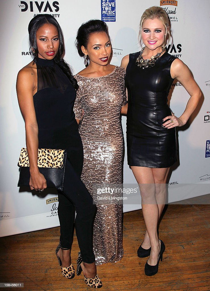 Actresses Taylour Paige, Logan Browning and Katherine Bailess attend the VH1 Divas After Party to benefit the VH1 Save The Music Foundation at the Shrine Expo Hall on December 16, 2012 in Los Angeles, California.
