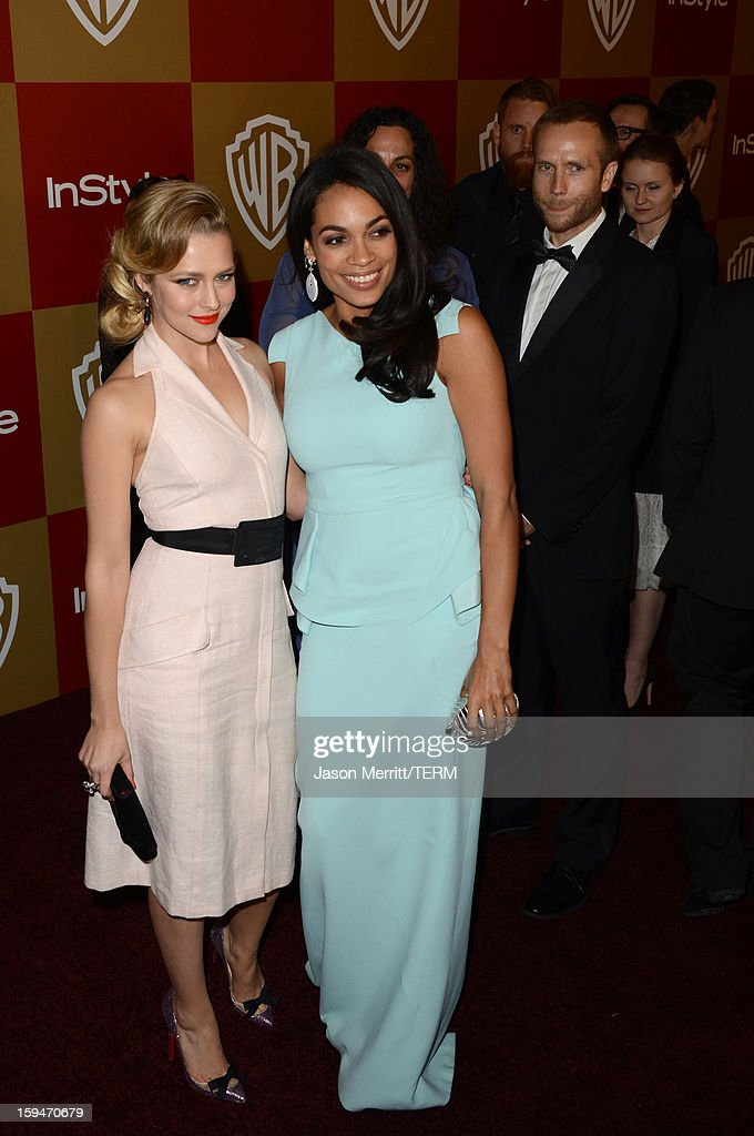 Actresses Teresa Palmer and Rosario Dawson attend the 14th Annual Warner Bros. And InStyle Golden Globe Awards After Party held at the Oasis Courtyard at the Beverly Hilton Hotel on January 13, 2013 in Beverly Hills, California.