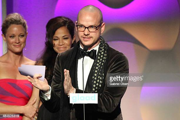 Actresses Teri Polo and Sherri Saum with Producer Peter Paige speak onstage during the 25th Annual GLAAD Media Awards at The Beverly Hilton Hotel on...