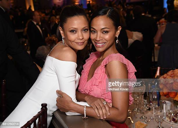 Actresses Thandie Newton and Zoe Saldana attend the 74th Annual Golden Globe Awards at The Beverly Hilton Hotel on January 8 2017 in Beverly Hills...