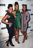 Actresses Tichina Arnold Erica Ash and Teyonah Parris attend the premiere of Starz 'Survivor's Remorse' at the Wallis Annenberg Center for the...
