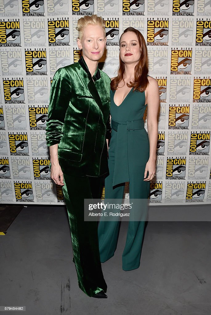 """Actresses Tilda Swinton from Marvel Studios' 'Doctor Strange"""" and Brie Larson announced as Captain Marvel/Carol Danvers attend the San Diego ComicCon..."""