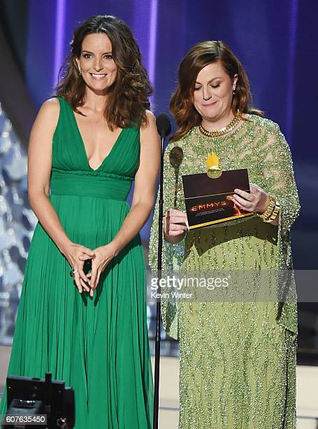 Actresses Tina Fey and Amy Poehler speak onstage during the 68th Annual Primetime Emmy Awards at Microsoft Theater on September 18 2016 in Los...