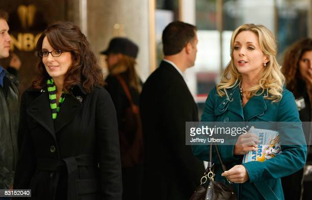 Actresses Tina Fey and Jane Krakowski stand on location during filming for '30 Rock' at Rockefeller Center on October 6 2008 in New York City
