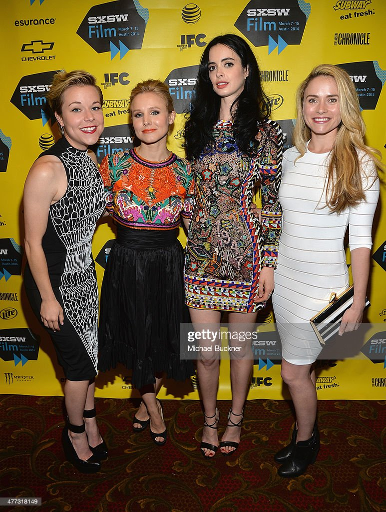 Actresses Tina Majorino Kristen Bell Krysten Ritter and Amanda Noret pose in the green room at the premiere of 'Veronica Mars' during the 2014 SXSW...