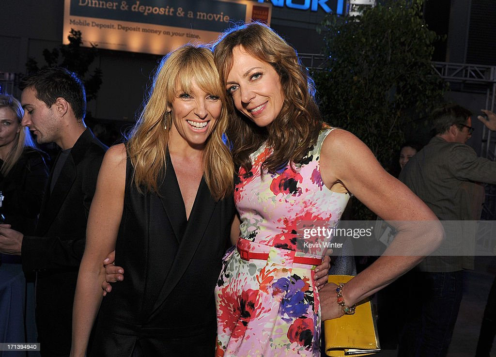 Actresses <a gi-track='captionPersonalityLinkClicked' href=/galleries/search?phrase=Toni+Collette&family=editorial&specificpeople=204673 ng-click='$event.stopPropagation()'>Toni Collette</a> (L) and <a gi-track='captionPersonalityLinkClicked' href=/galleries/search?phrase=Allison+Janney&family=editorial&specificpeople=206290 ng-click='$event.stopPropagation()'>Allison Janney</a> attend the premiere of Fox Searchlight Pictures' 'The Way, Way Back' after party at L.A. Live Event Deck on June 23, 2013 in Los Angeles, California.