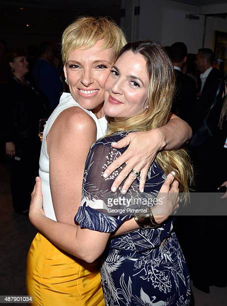 Actresses Toni Collette and Drew Barrymore attend the 'Miss You Already' premiere during the 2015 Toronto International Film Festival at Roy Thomson...