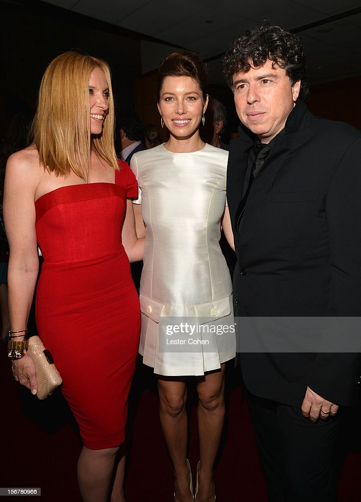Actresses Toni Collette and Jessica Biel and director Sacha Gervasi attend the after party for the premiere of Fox Searchlight Pictures' 'Hitchcock' at the Academy of Motion Picture Arts and Sciences Samuel Goldwyn Theater on November 20, 2012 in Beverly Hills, California.