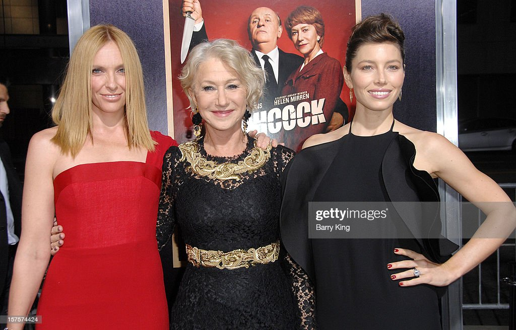 Actresses Toni Collette, Helen Mirren, Jessica Biel arrive at the Los Angeles Premiere 'Hitchcock' at AMPAS Samuel Goldwyn Theater on November 20, 2012 in Beverly Hills, California.