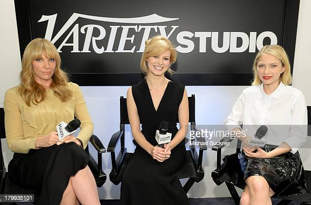 Actresses Toni Collette Tracey Fairaway and Tavi Gevinson speak at the Variety Studio presented by Moroccanoil at Holt Renfrew during the 2013...