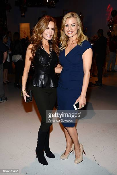 Actresses Tracey E Bregman and Jessica Collins attend the 'The Young The Restless' 40th anniversary cakecutting ceremony at CBS Television City on...