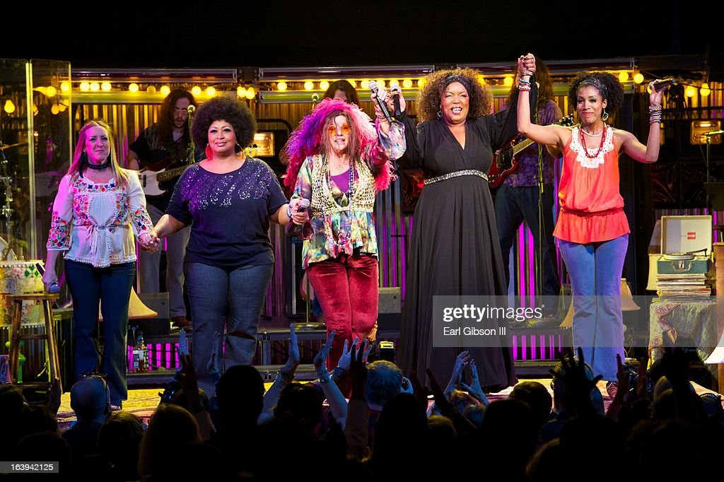 Actresses Tricia Kelly, Kimberly Yarbrough, Mary Bridget Davies, Sabrina Elayne Carten and Shay Saint-Victor give their final bows at the Opening Nights Performance of 'One Night With Janis Joplin' at Pasadena Playhouse on March 17, 2013 in Pasadena, California.