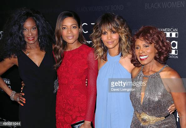 Actresses Trina Parks Naomi Harris Halle Berry and Gloria Hendry attend 'Spectre' The Black Women of Bond tribute at the California African American...