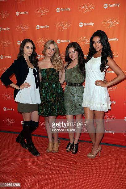 Actresses Troian Avery Bellisario Ashley Benson Lucy Hale and Shay Mitchell attend the 'Pretty Little Liars' book signing at Barnes Noble bookstore...